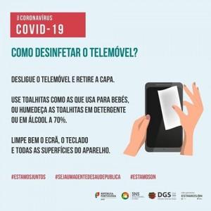 DGS Desinfetar o Telemovel
